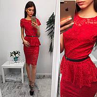 Блузка красная из гипюра с баской