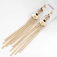 Серьги  цепочки позолота Xuping  8см 550
