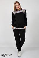 Костюм спортивный для беременных, черный с цветочным принтом