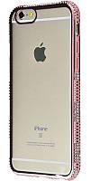 Силиконовый чехол для iPhone 6 хромированный с камнями розовый
