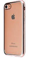 Силиконовый чехол для iPhone 7 хромированный с камнями розовый