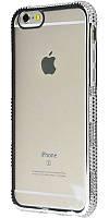 Силиконовый чехол для iPhone 7 хромированный с камнями серебро