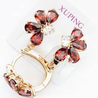 Серьги  Xuping позолоченные красный цветок 1.6см с552