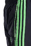 Мужские спортивные штаны Adidas черного цвета c зелеными полосками (плащевка). Хмельницкий, фото 4