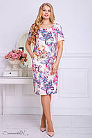 Женское летнее платье с карманами больших размеров