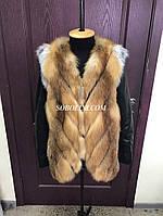 Куртка - трансформер из меха лисы с кожаными рукавами, крой диагональ