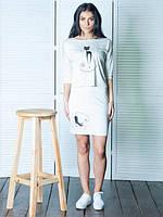 Летняя молодежная женская юбка белого цвета