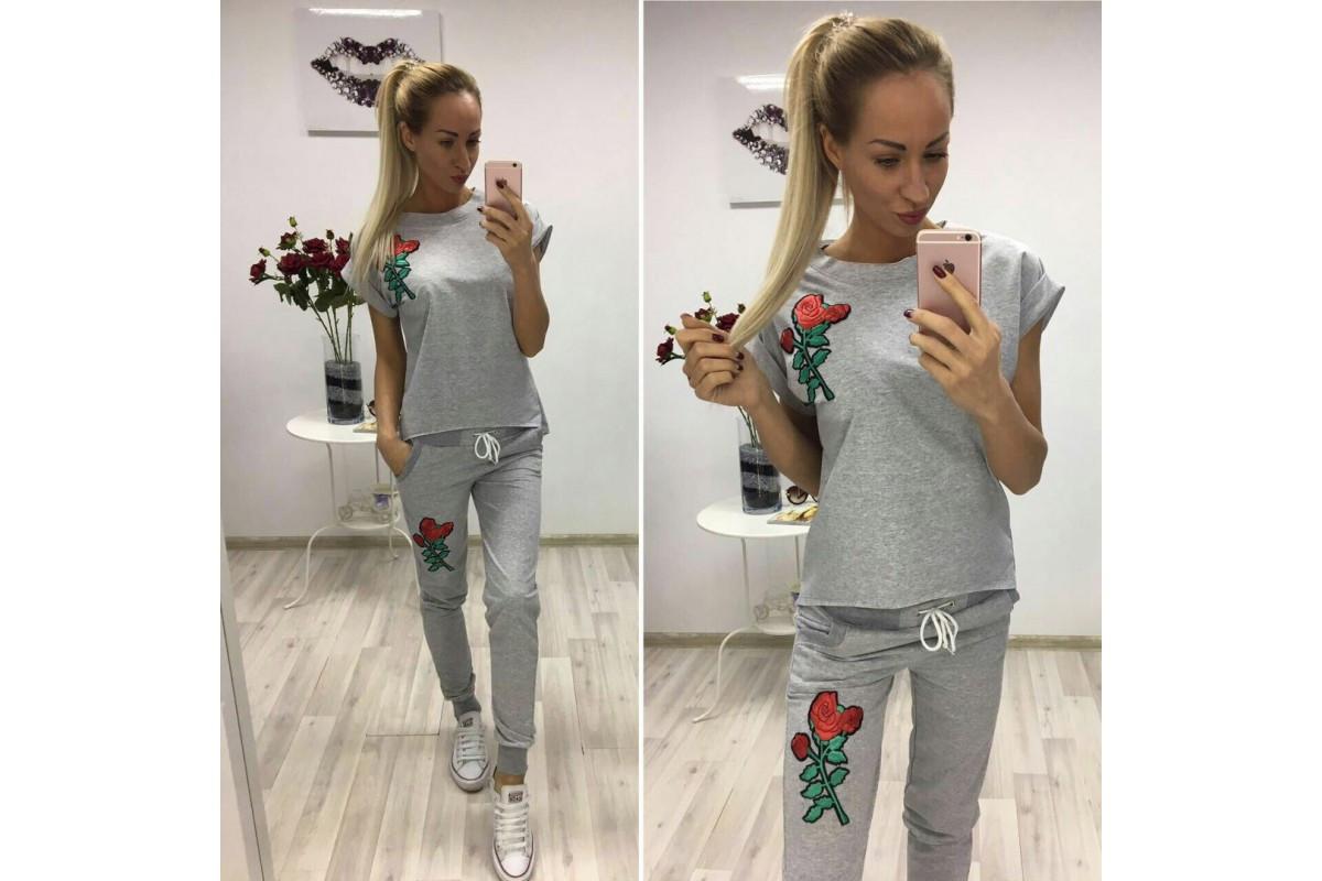 be921743 Женский спортивный костюм штаны и футболка двунитка Турция + вышивка  размеры С М Л 48-