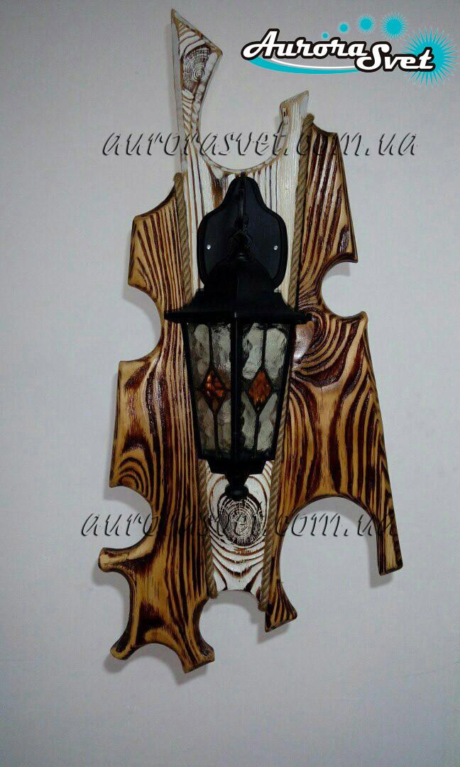 """Настенный декоративный светильник из дерева """"Древний Рим"""" (черный)"""