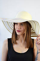 Стильная кремовая широкополая шляпа