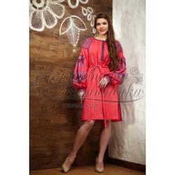 Заготовка-плаття під вишивку нитками ТЕ005лП червоно-рожевий