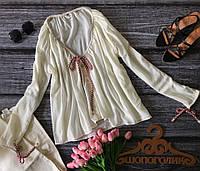 Актуальная летняя блуза свободного кроя с декоративными шнурками  BL1846