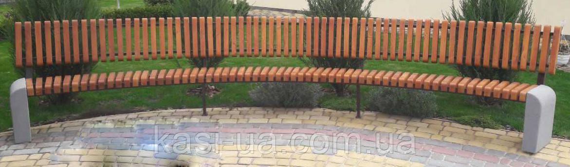 Лавка (скамья) садово-парковая радиусная со спинкой с бетонным основанием (2,5 м.) №7