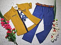 Костюм   для мальчика с батником, рубашкой, брюками и поясом на 8 И 9 лет