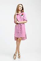 """Летнее розовое платье-рубашка """"Бэт"""""""