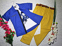 Костюм   для мальчика с батником, рубашкой, брюками и поясом на 7-10 лет