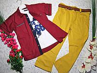 Костюм   для мальчика с батником, рубашкой, брюками и поясом на 7-8 лет