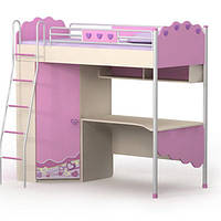 Серия «Pink» Кровать-чердак со шкафом BRIZ