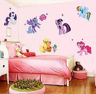 """Наклейка в детскую MY LITTLE PONY """"мой маленький пони"""" (лист 50*70см) поняшки: дети в  восторге!"""