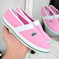 Мокасины женские летние Lacoste розовые, кеды женские осенняя обувь