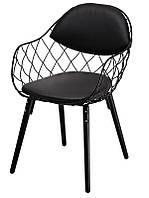 Стулья металлические мягкие Вики, Модные дизайнерские металлические стулья с мягким сиденьем и спинкой, кожзам