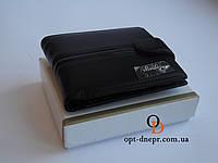 Мужское портмоне MEILIGER кошелек черный с полоской