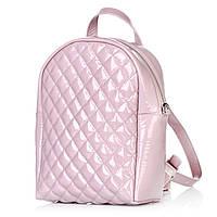 Рюкзак городской женский розовый из лаковой кожи