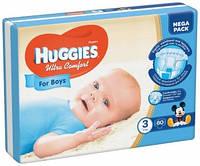 Подгузники Хаггис Huggies ULTRA COMFORT для мальчиков 3 (5-9кг) MEGA PACK 80шт. (Чехия)