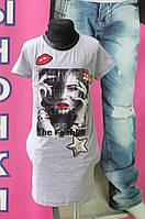 Платье-туника для девочки серый трикотаж 8-14 лет Турция