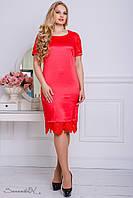 Женское нарядное атласное платье больших размеров красное