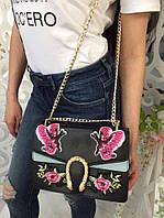 Модная женская сумка-клатч на цепочке с вышивкой фабричный Китай цвет черный