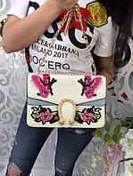Модная женская сумка-клатч на цепочке с вышивкой фабричный Китай цвет белый