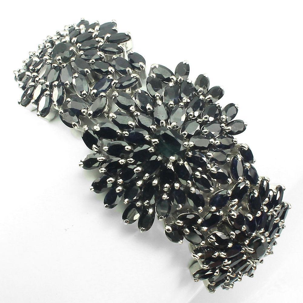 Сапфировый браслет  серебро 925 проба .