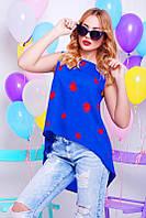 Шифоновая синяя женская блуза Асимметрия Fashion UP 42-48 размеры