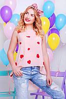 Шифоновая персиковая женская блуза Асимметрия Fashion UP 42-48 размеры