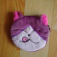 3d cat 3д кошелёк кошелёчек котёнок облизывается ням фиолетовый