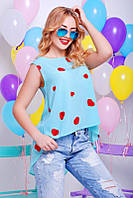 Шифоновая голубая женская блуза Асимметрия Fashion UP 42-48 размеры