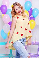 Шифоновая желтая женская блуза Асимметрия Fashion UP 42-48 размеры