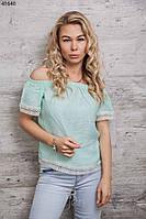 Легкая женская блуза с кружевом лен p.44-48 A41640-1
