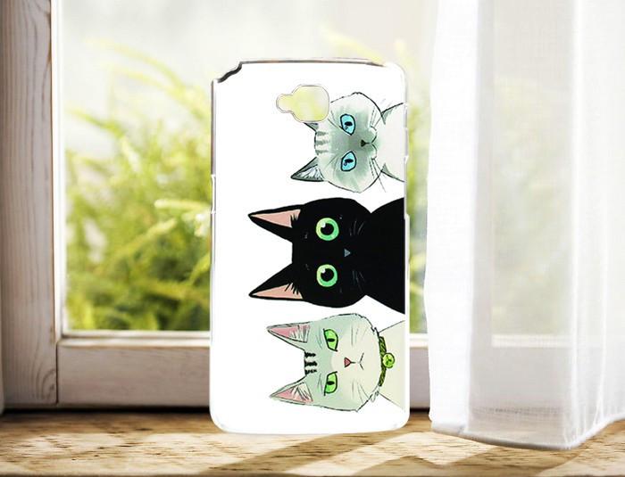 Чехол силиконовый бампер для LG G Pro Lite Dual D686 с рисунком три кота