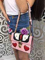 Модная женская сумка-клатч на цепочке копия Гуччи Gucci фабричный Китай цвет розовый