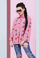 Молодежная рубашка с принтом Cool красный Fashion UP 42-48 размеры