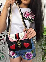 Модная женская сумка-клатч на цепочке копия Гуччи Gucci фабричный Китай цвет черный