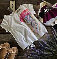 Оригинальная футболка с акварельным принтом на девочку 2 лет
