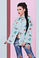 Молодежная рубашка с принтом Cool ментол Fashion UP 42-48 размеры