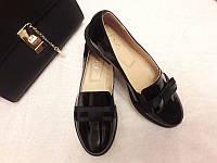 Женские туфли на низком каблуке натуральная лаковая кожа Ko0017