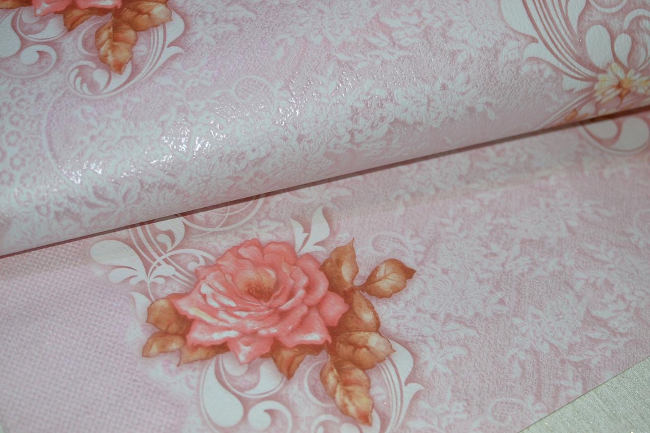 Обои, на стену, розовый, цветы, светлый,  бумажные, Летний 6446-06, 0,53*10м
