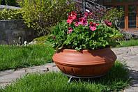 Вазон уличный ф 600 мм, садово - парковый пластиковый для цветов (Термочаша - двойные стенки) Красный гранит