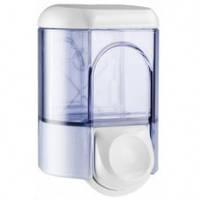 561T Дозатор жидкого мыла пластик прозрачный/белый