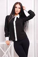 Офисная черная женская блуза Классика Fashion UP 42-46 размеры
